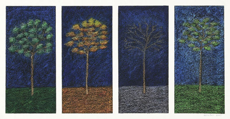 "Leslie Bell uses extra-soft oil pastel atop black backgrounds on rough silk for her works depicting the four seasons. This piece is included in ""Prelude to Spring,"" the March show at Artists' Gallery of Steamboat."