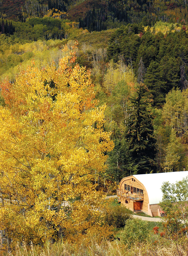 Overlooking the Whiteman School Campus, Aspens are starting to turn and blanket the area with yellows and golds.