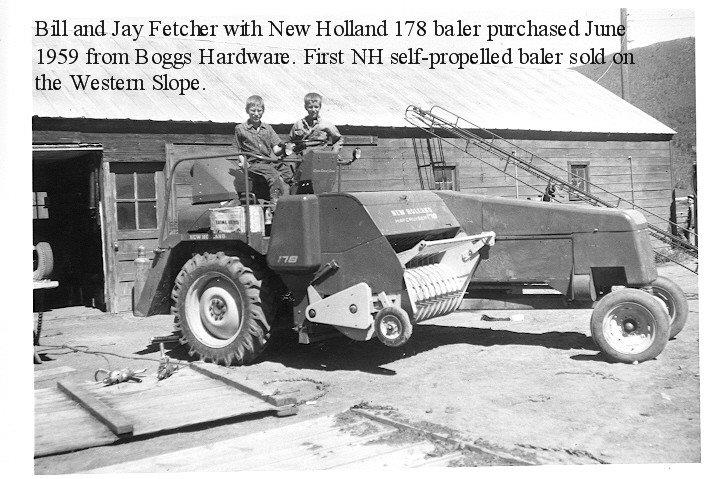 Brothers Bill, left, and Jay Fetcher pose 54 years ago on their family's 1959 New Holland self-propelled Hay Cruiser baler. At the time, Bill was 13, and Jay was 11.