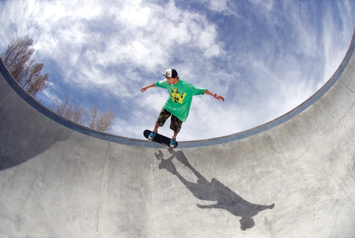 Coping with Coping: Mac Carmony plays in the bowl at Bear River Skatepark on the city's west side.