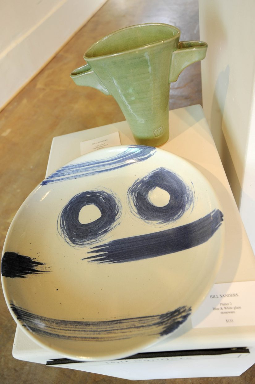 Bill Sanders utilizes blue and white glazes.
