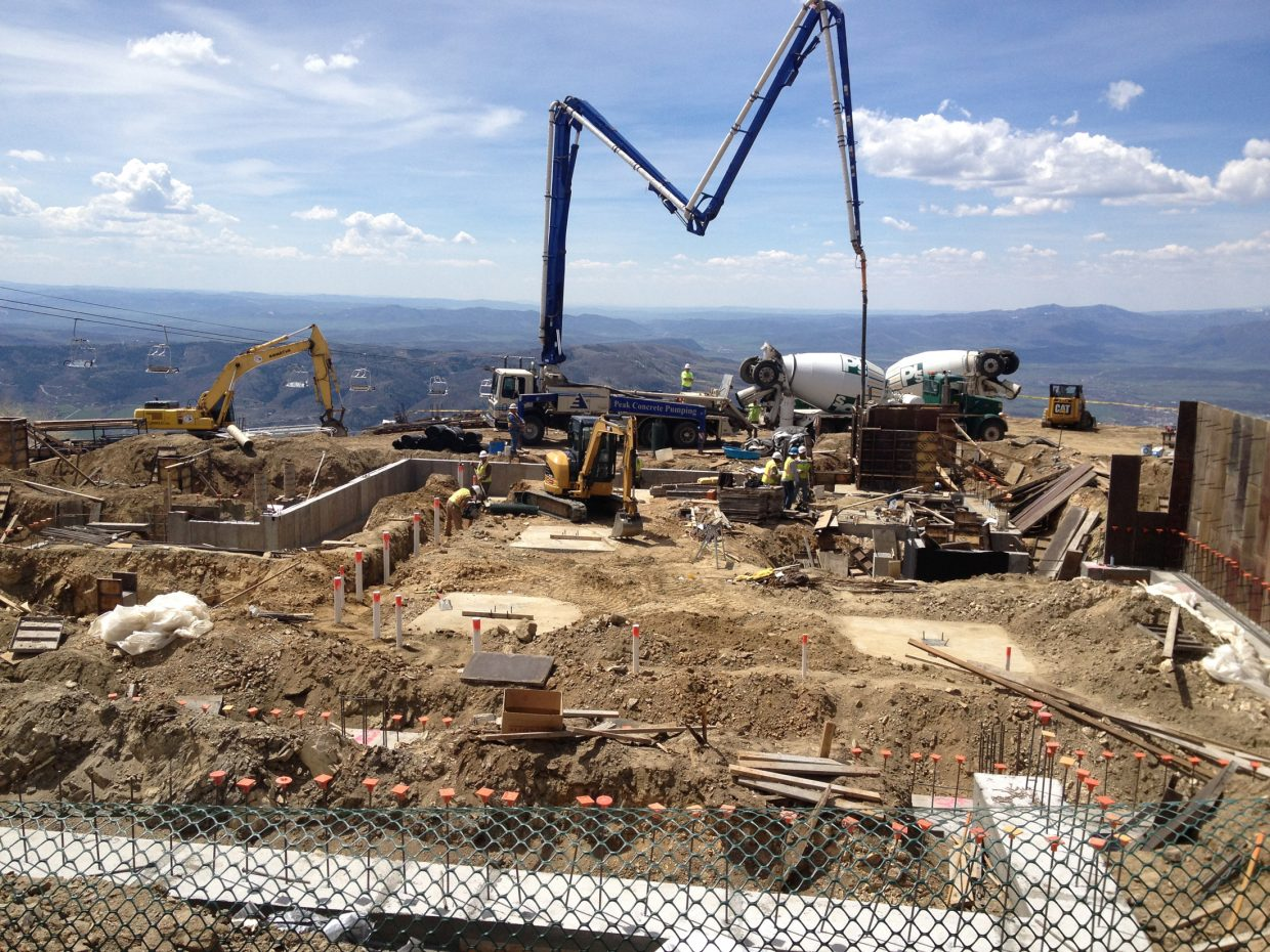 Concrete footers were being poured for the new Four Points Lodge early this week at 9,700 feet at Steamboat Ski Area.