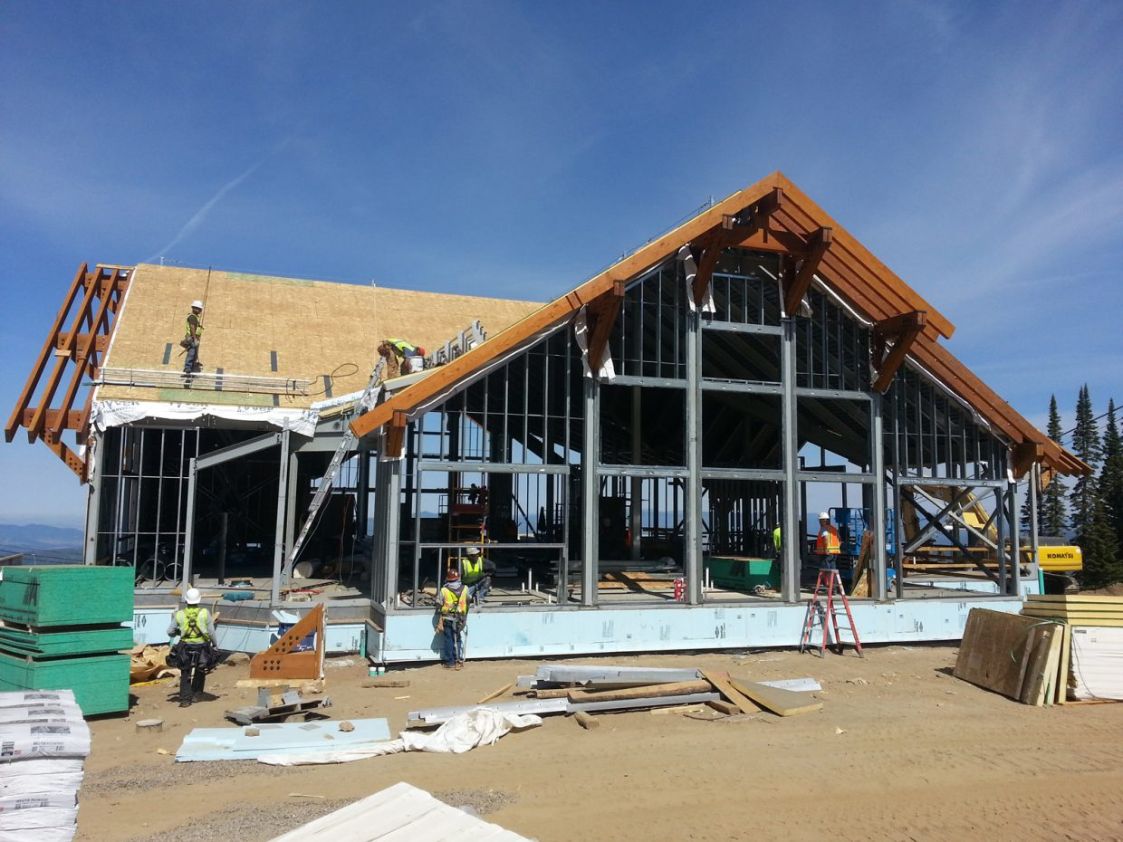 The new Four Points Lodge at 9,700 feet at Steamboat Ski Area begins to take shape with the exposed trusses in this photograph taken Sunday.