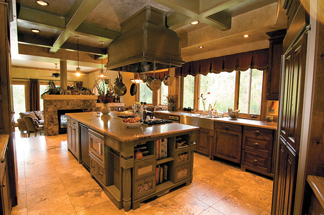 At first glance this kitchen looks like many of the others you would find in some of Steamboat Springs' higher end properties. But builder Mike Roberts took the environment into consideration when building his green home, insisting on recycled wood, and earth-friendly flooring and countertops.