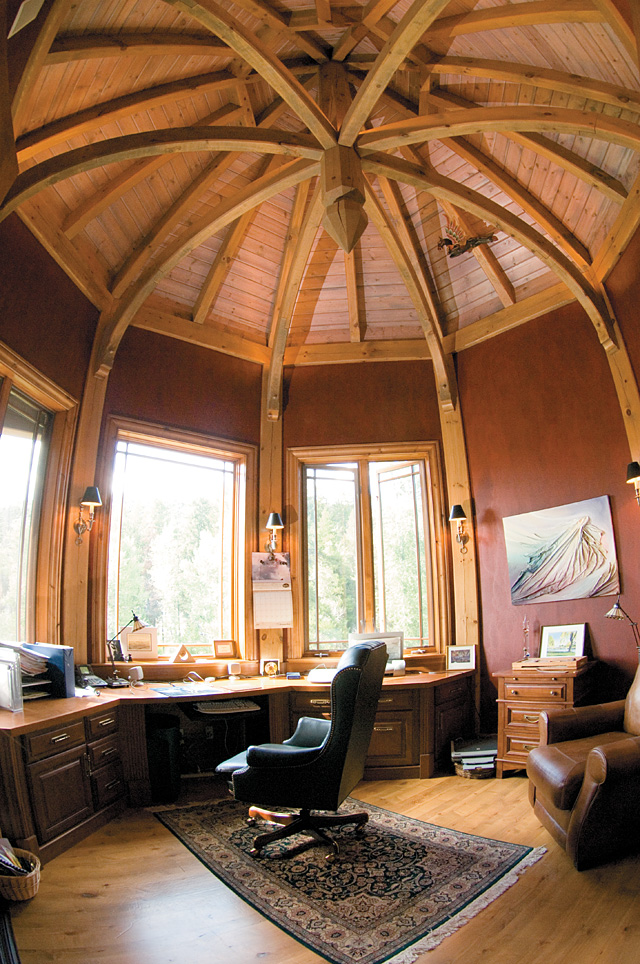 The office inside Mike Roberts' Steamboat Springs home has large open windows that allow for heating in the winter, cooling in the summer and terrific views of Fish Creek year-round.