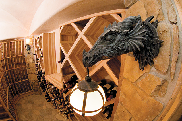 """Just because Mark Steur's home is """"green"""" doesn't mean it isn't decked out. The home has a one-of-a-kind custom wine cellar that is sure to get lots of attention."""