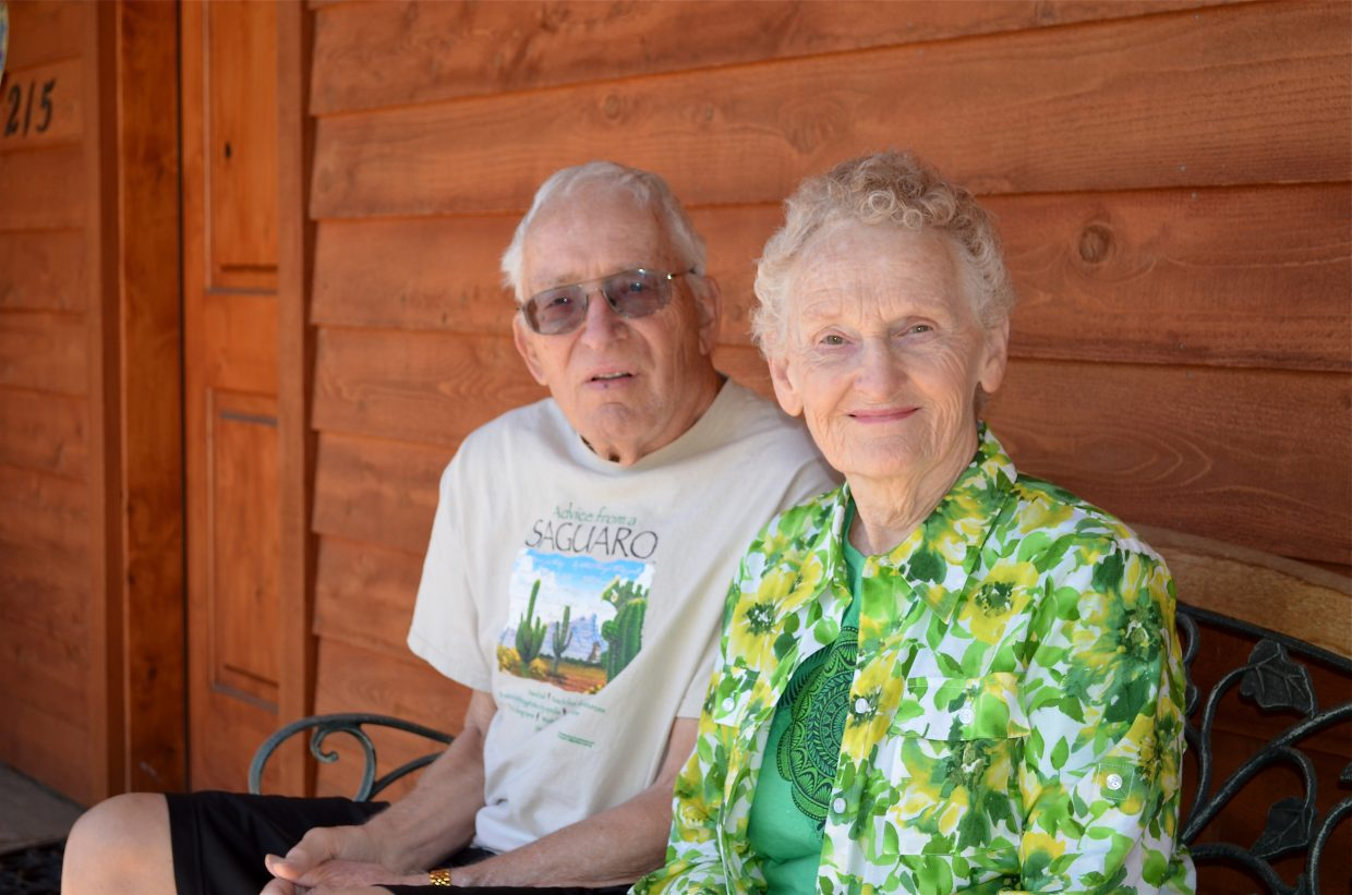George Lund keeps to a regimen of daily exercises to preserve his mobility and reduce the tendency, brought on by Parkinson's disease, to shuffle while he walks. His wife, Alice, does the exercises along with him.