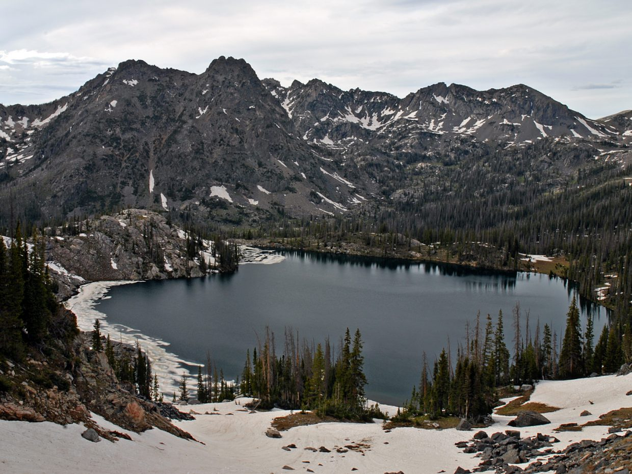 Still a bit of ice on Gilpin Lake in the Mt. Zirkel Wilderness Area. Submitted by: Jeff Hall.