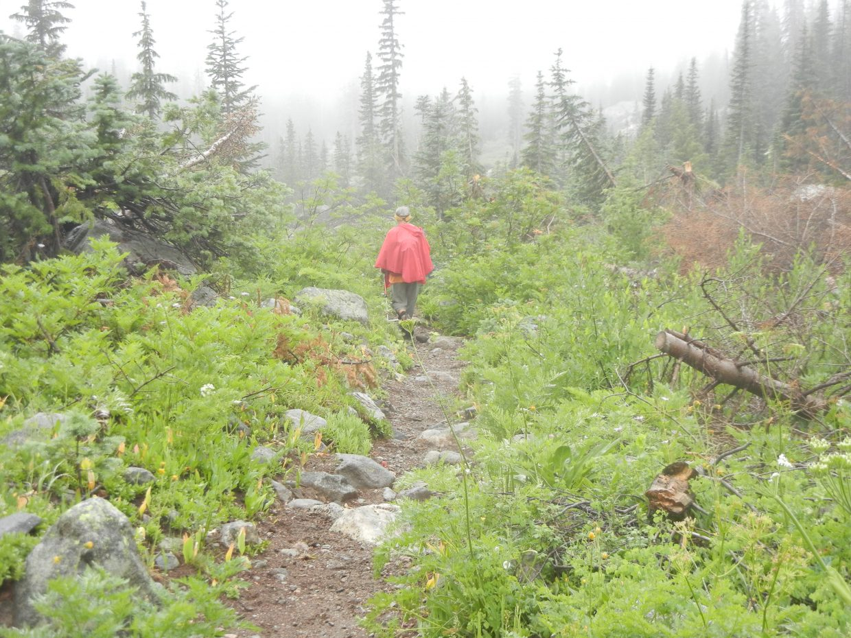 Walking in the rain on Gilpin Lake Trail. Submitted by: Nancy Roberts