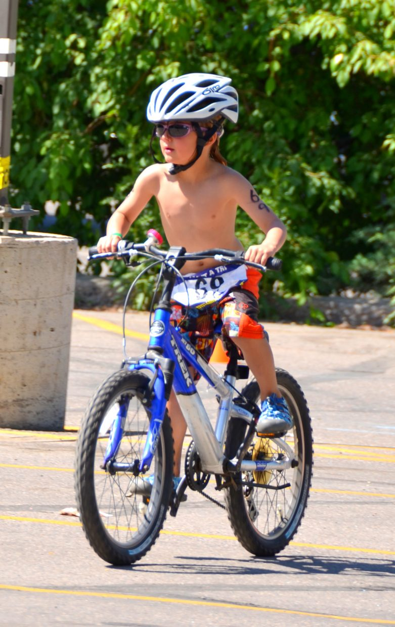 Tristan Thrasher participates in Saturday's Give it a Tri. Submitted by: Shannon Lukens
