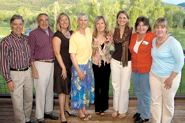 From left: Jonathan Heuberger, David Howell, Shari Fryer, Karen Vail, Kim Vogel, Jennifer Wright, Diann Ritschard and Bridget Ross at the eighth annual Wild Edible Feast, a fundraiser for Yampatika.