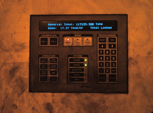 An electronic control panel deep within the Hayden Station Power Plant provides operators with data regarding the coal feeder's rate of activity.