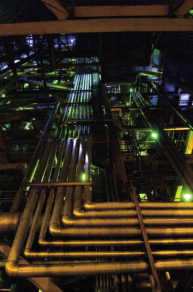 A maze made up of many miles of piping winds throughout the 13 stories of the Hayden Station power plant, carrying the super-heated steam and coal dust necessary to generate 446 megawatts of electrical power.