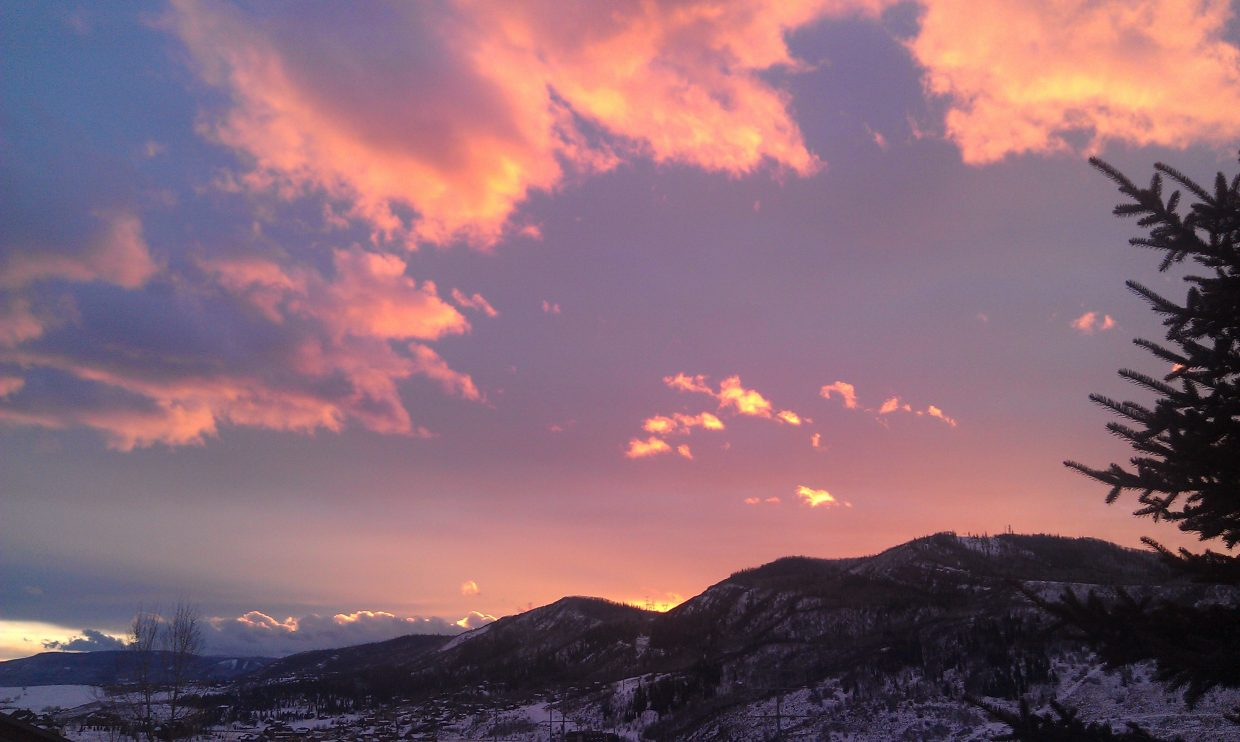 Alpenglow from Hillside Drive. Submitted by: Tim Anderson