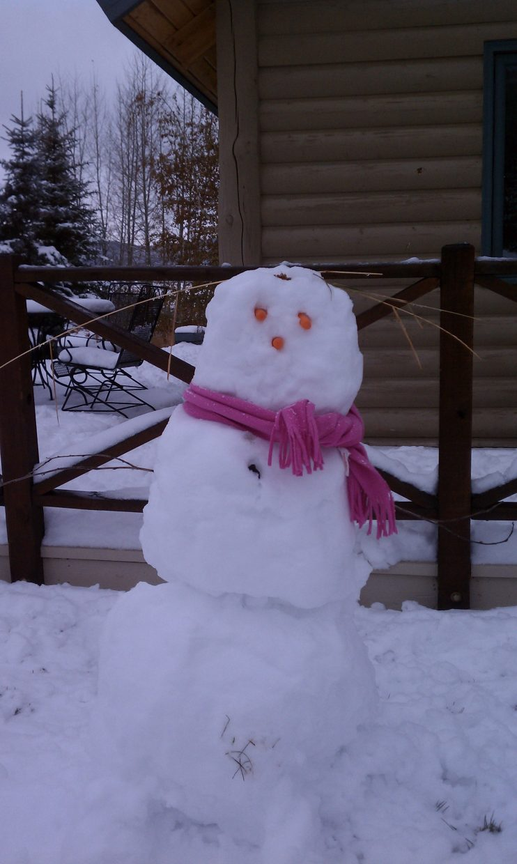 The Pease family made their first snowman on Nov. 13. Submitted by: Robert Pease