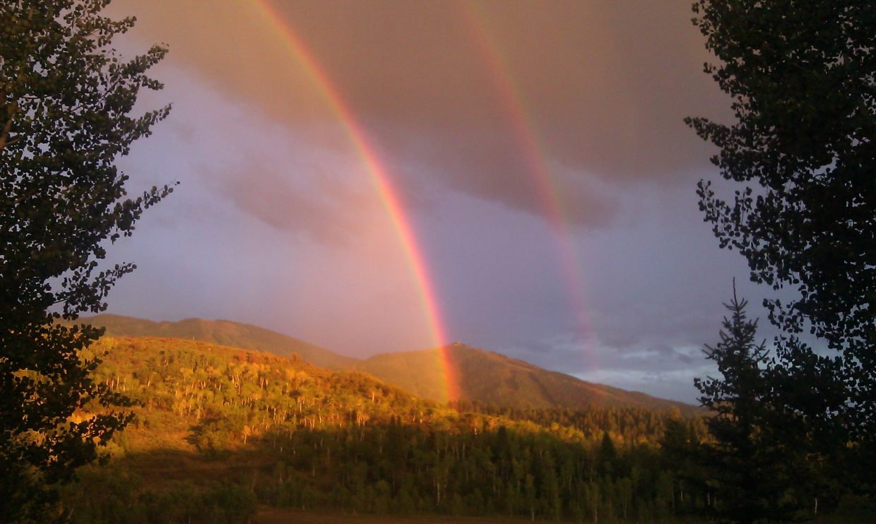 Double rainbow over Mount Werner taken from the meadow between Boulder Ridge and Elkins Meadow. Submitted by: Kimi Nelson