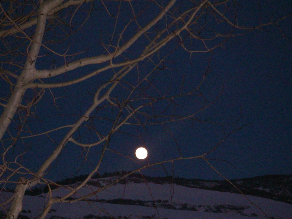 """Merdy"" Davies took this picture of the beautiful full moon rising over Saddle Mountain on Friday Jan. 29"