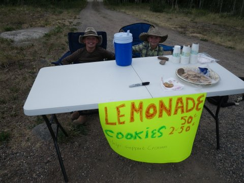 Sam and Tessa Clyncke, along Routt County Road 7, doing a bit of fundraising for the Crossan's M&A Market restoration in Yampa. Submitted by: Jeff Oden