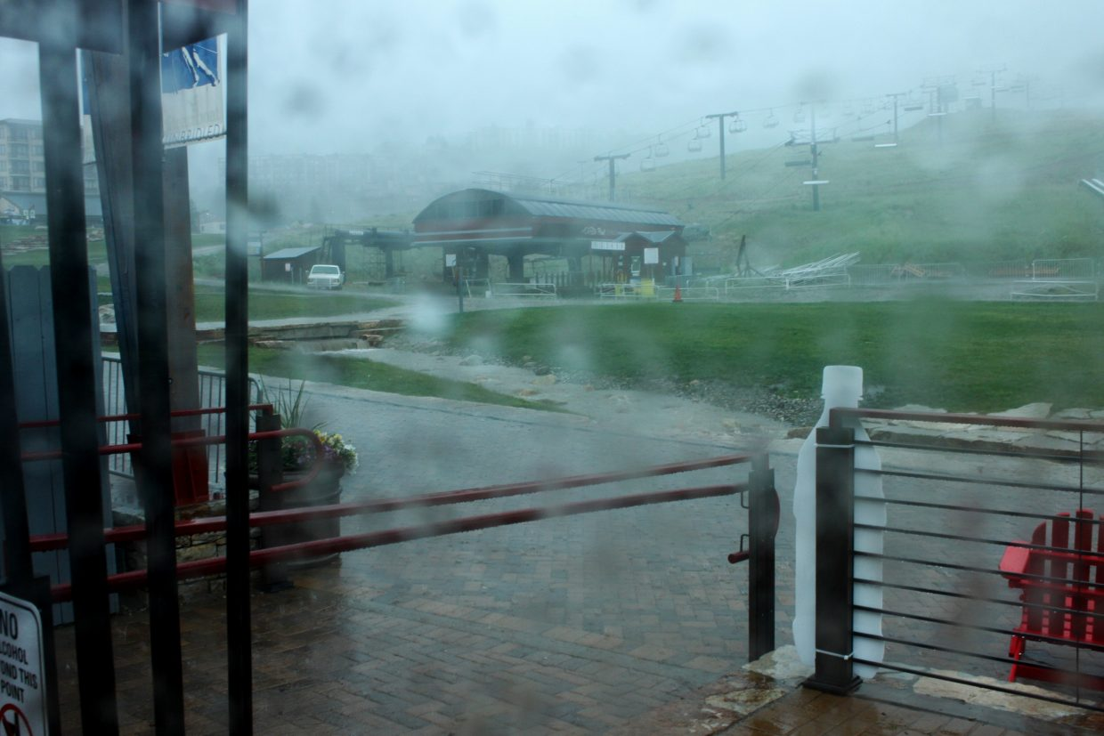 View from the tent at the ski area during the storm, river running fast. Submitted by: Allison Alfone