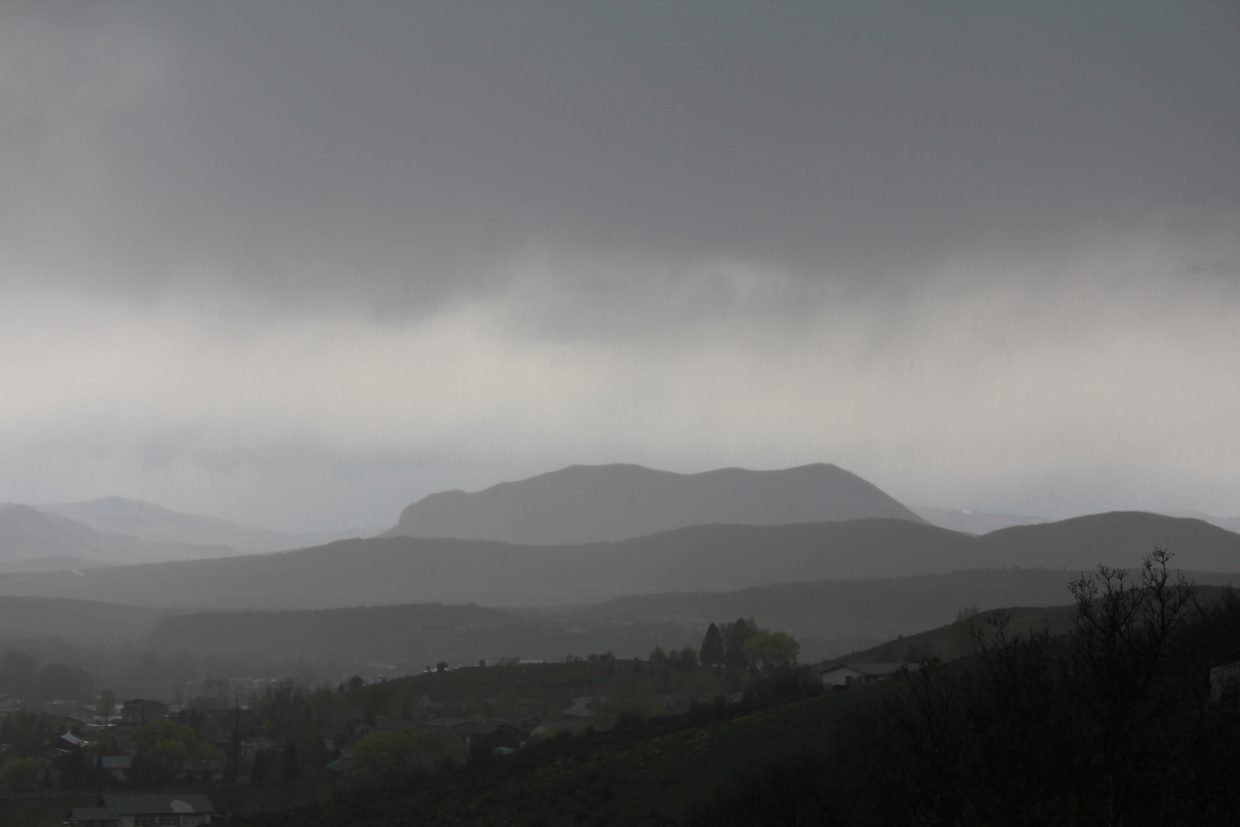 Sleeping Giant silhouette in the rain. Submitted by: Jim Miller