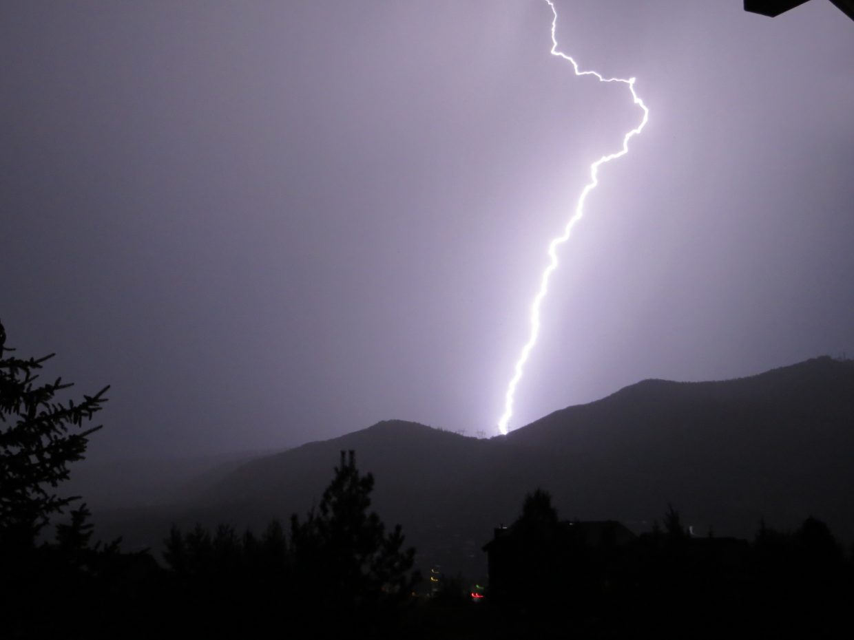 Lightning from the storm on August 28. Submitted by: Erin Tridle