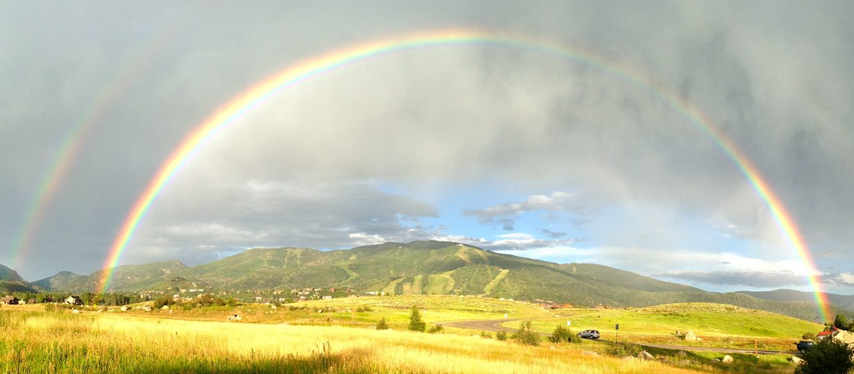 Double rainbow over Steamboat Ski Area. Submitted by: Chris Lanham