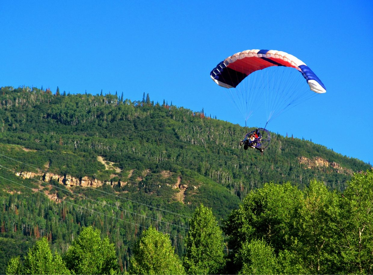 Power parachuting through the valley. Submitted by: Ryan Lohan