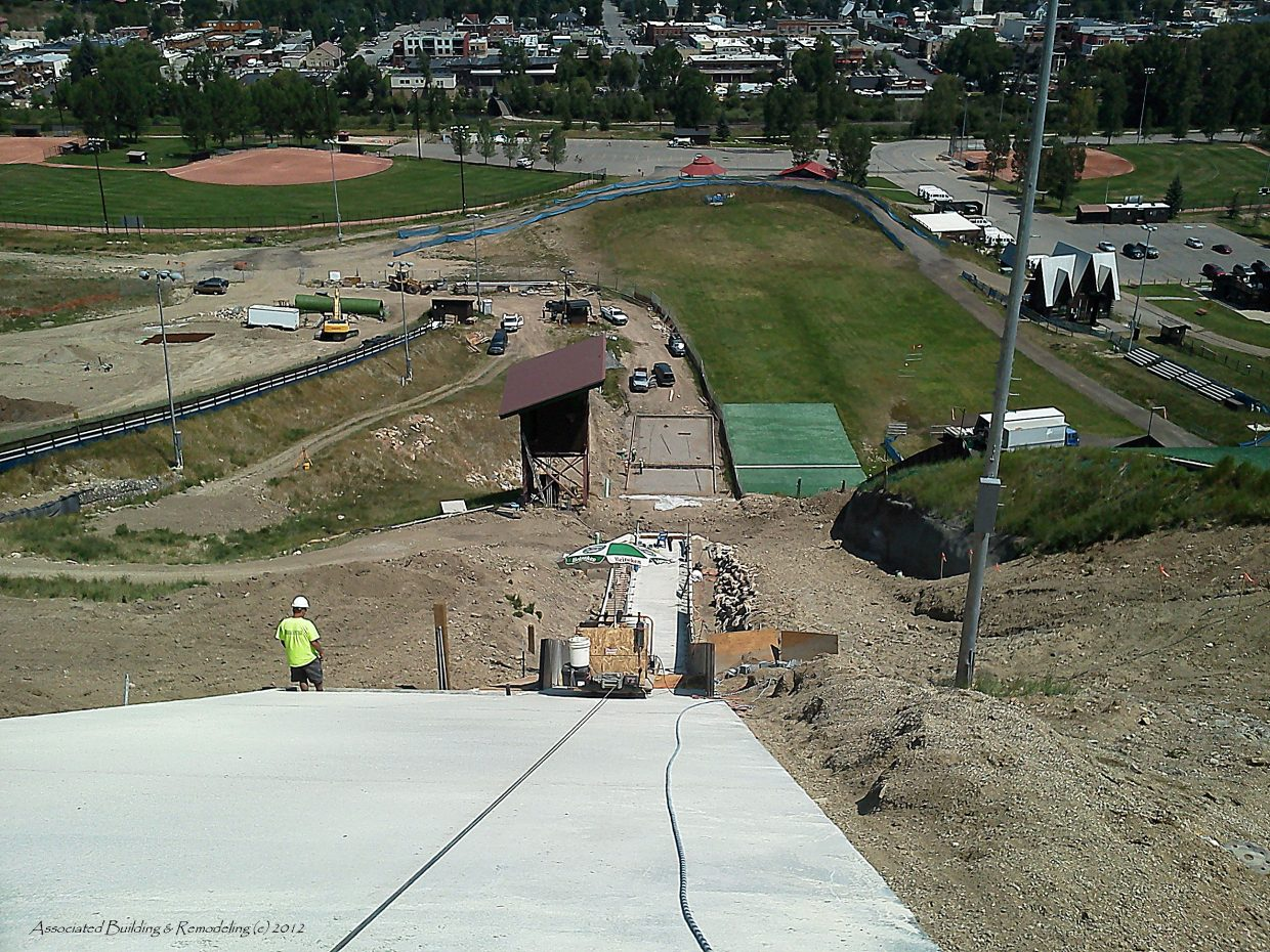 Work in progress on the new 45K ski jump at Howelsen Hill. Gary Wall, owner of Associated Building & Remodeling took this shot. Associated Building & Remodeling is a Sub Contractor for Native Excavating.