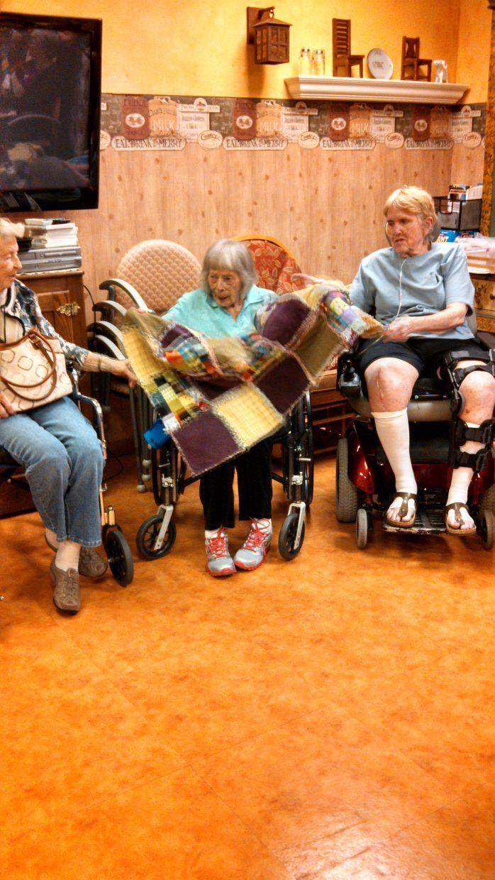 Delectable Mountain Quilt Guild shared their quilts with the residents of Doak Walker Care Center at their monthly meeting. Submitted by: Maria Bidgood