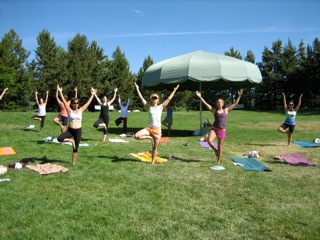 Yoga in the Yampa River Botanical Garden, a donation based fundraiser for the park. Submitted by: Patty Zimmer