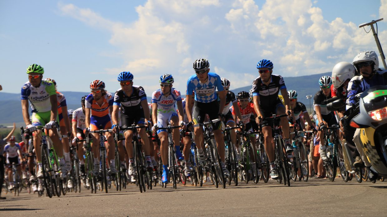 Riders cresting the hill before turning onto Mt. Werner Circle on Saturday.