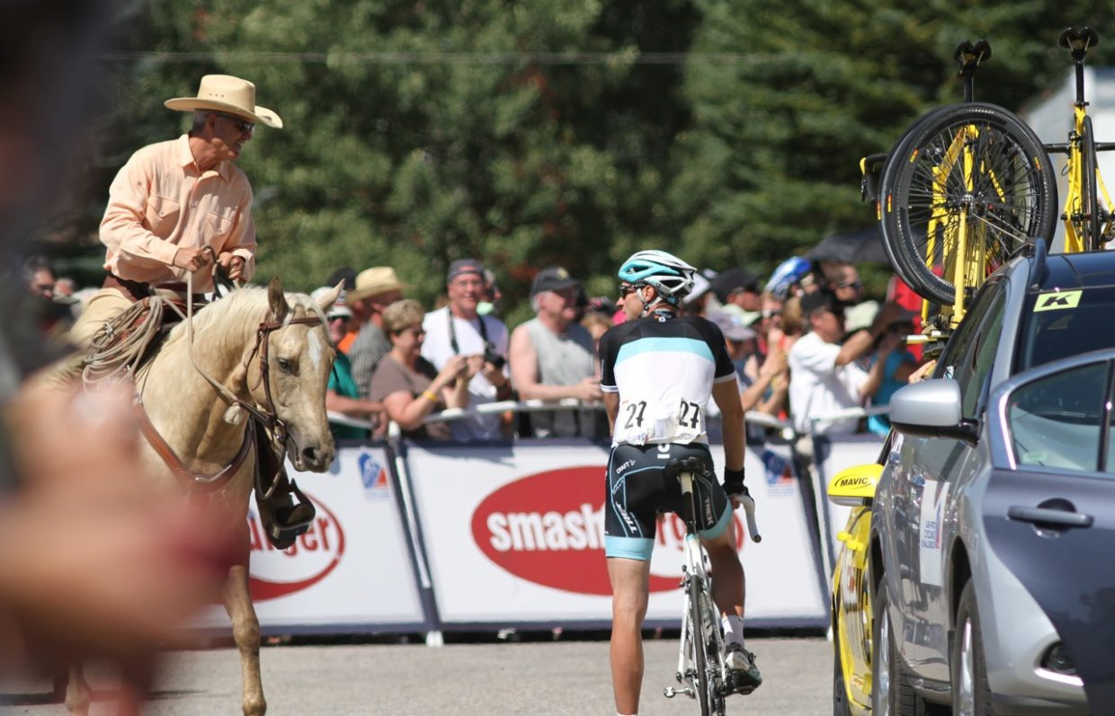 Jens Voight and cowboy at USA Pro Cycling Challenge.