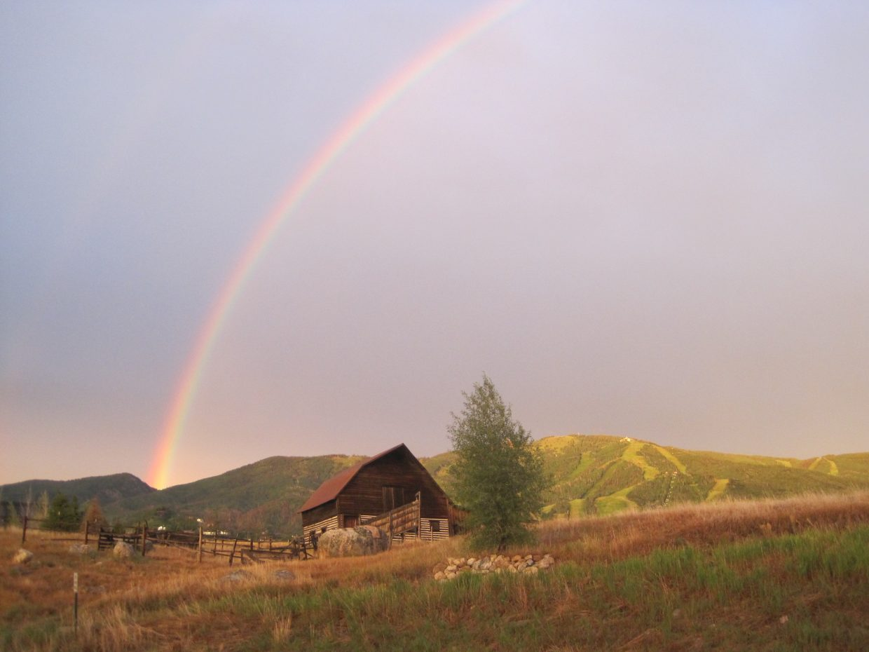 The trifecta: Mt. Werner, Moore Barn and a rainbow. Submitted by Curt Merchant.