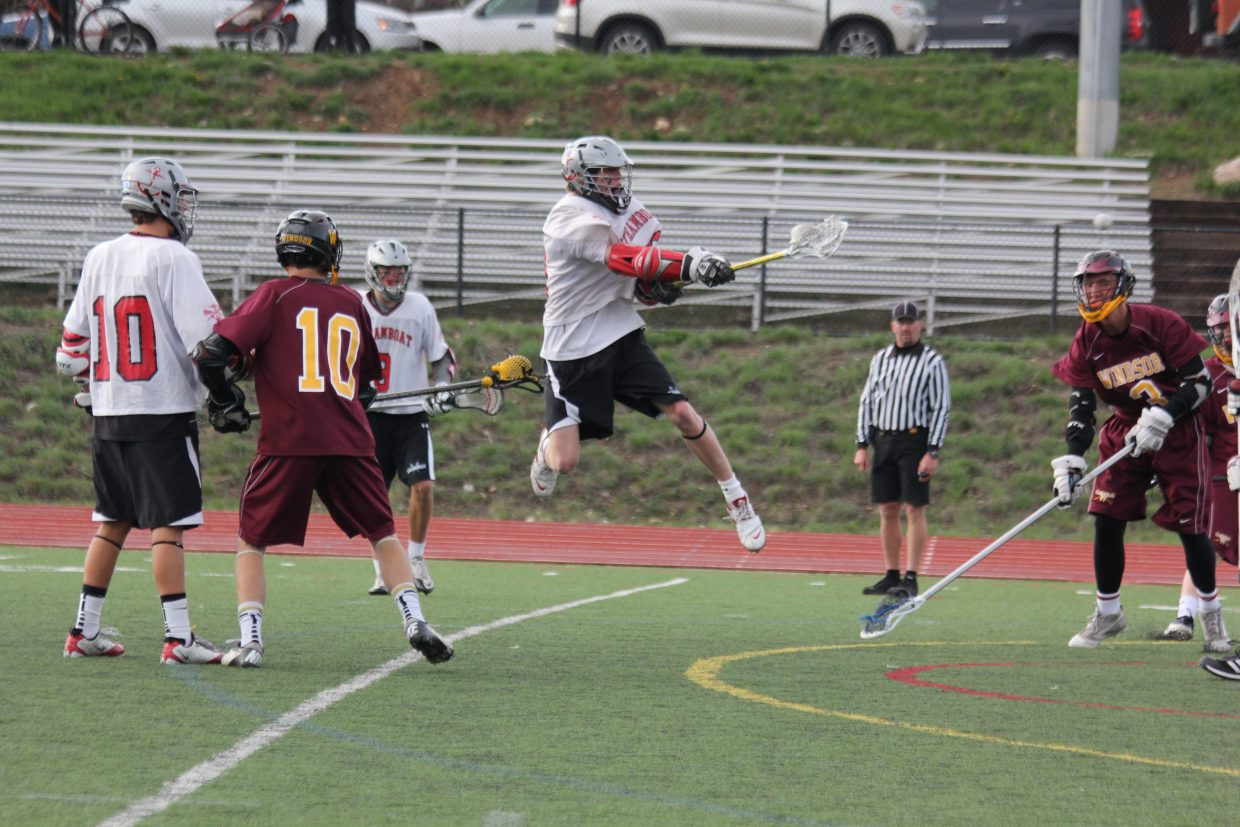 Steamboat's Peter White plays May 8 in a 13-5 win against Windsor in the first round of the state playoffs.
