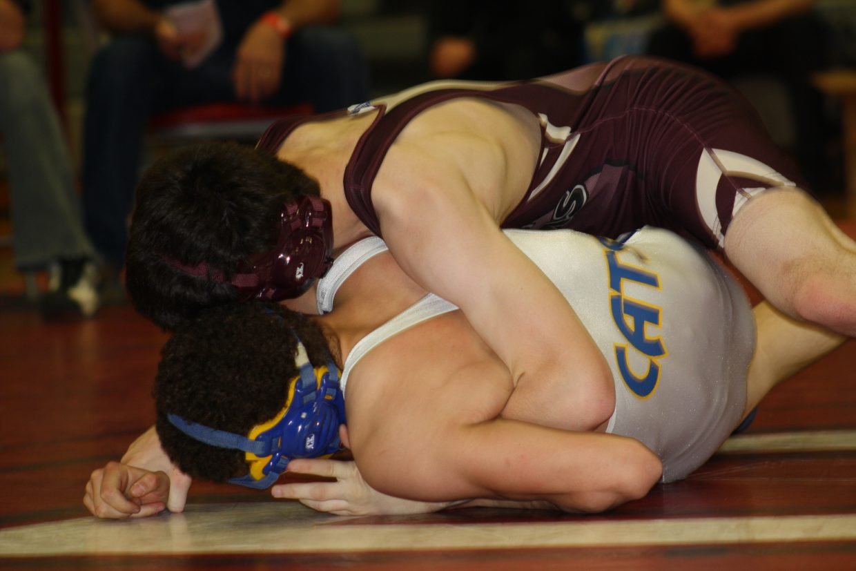 Soroco's Dillon Koler wrestles against Alex Telck, of North Park. Submitted by: Susie Koler