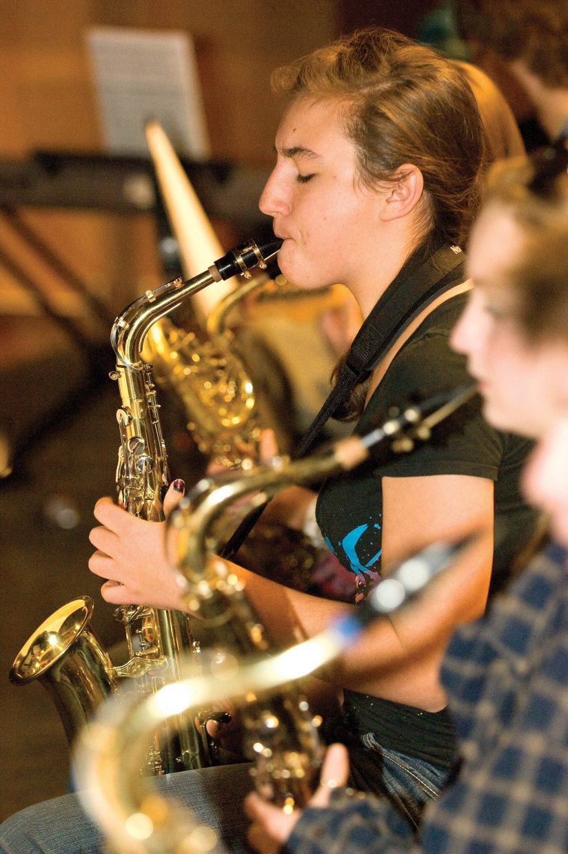 Jessie Wallace plays a solo during Steamboat Springs High School Jazz Band practice. The group was preparing for the Wednesday concert at the high school. The concert begins at 7 p.m.
