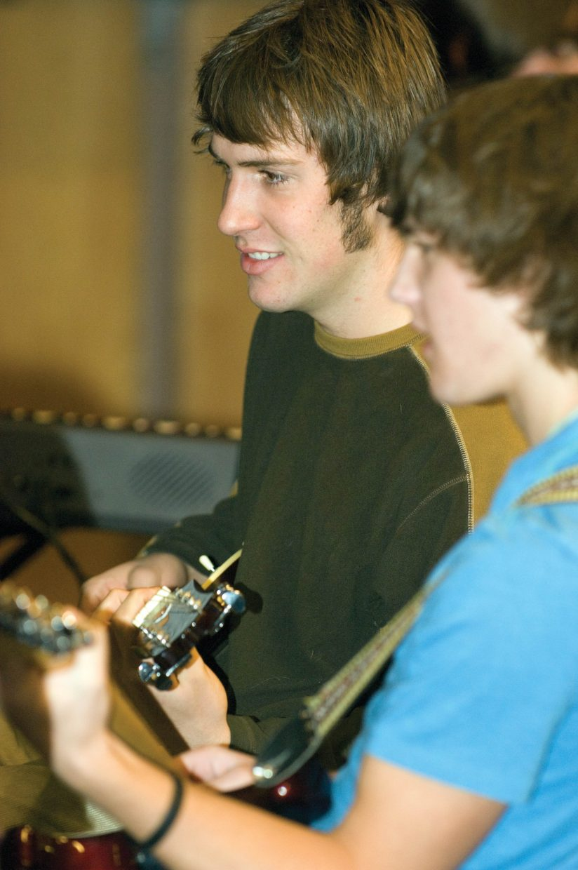Guitarist Connor Birch practices with the Jazz Band.