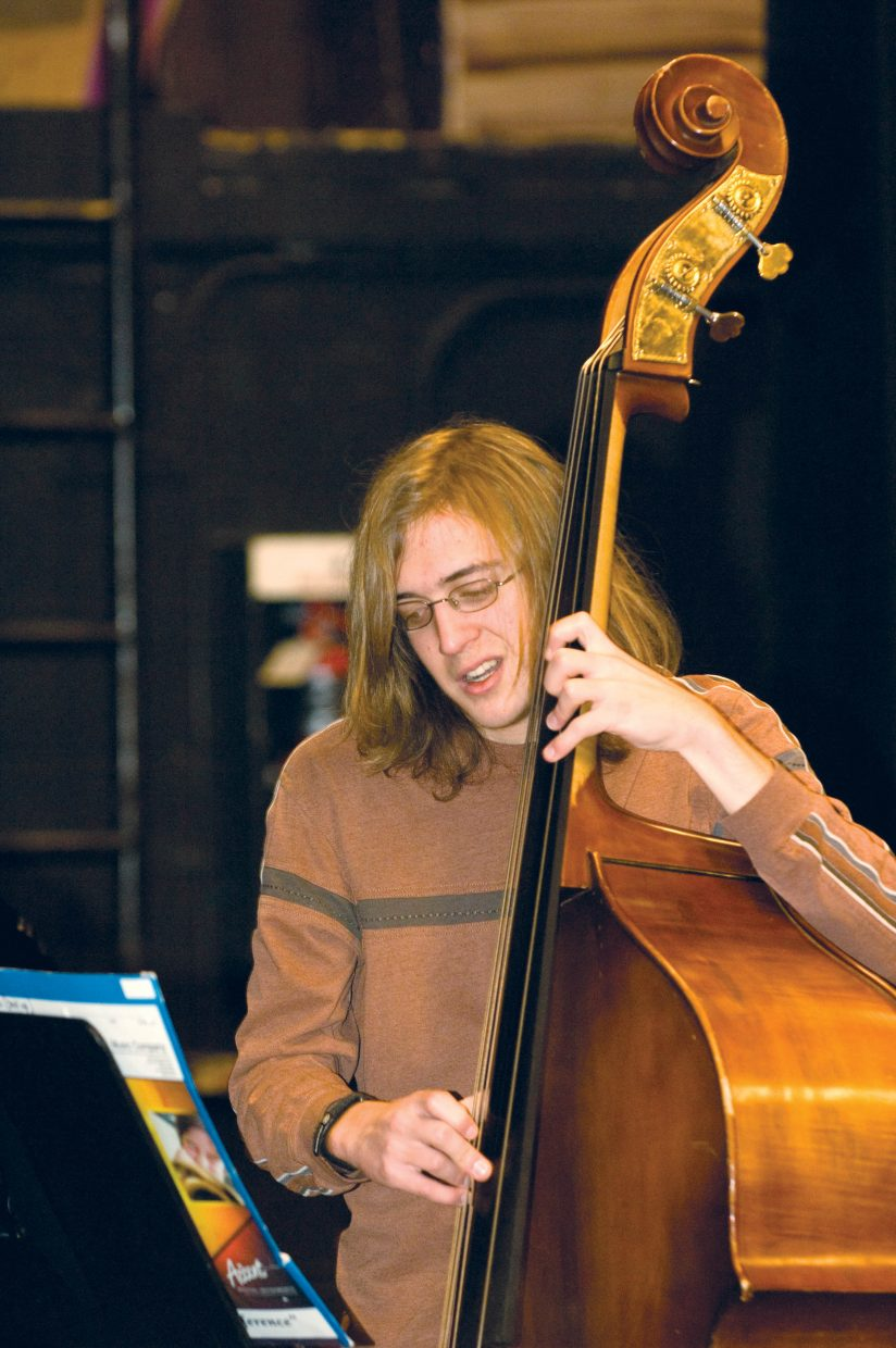 Sean Fairlie plays during the Jazz Band practice earlier this week.