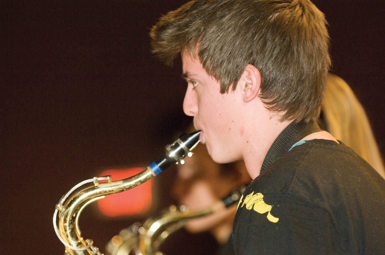 Tenor saxophone player Brandon Marr practices with the Steamboat Springs High School Jazz Band earlier this week. The Jazz band will perform Wednesday at the high school.