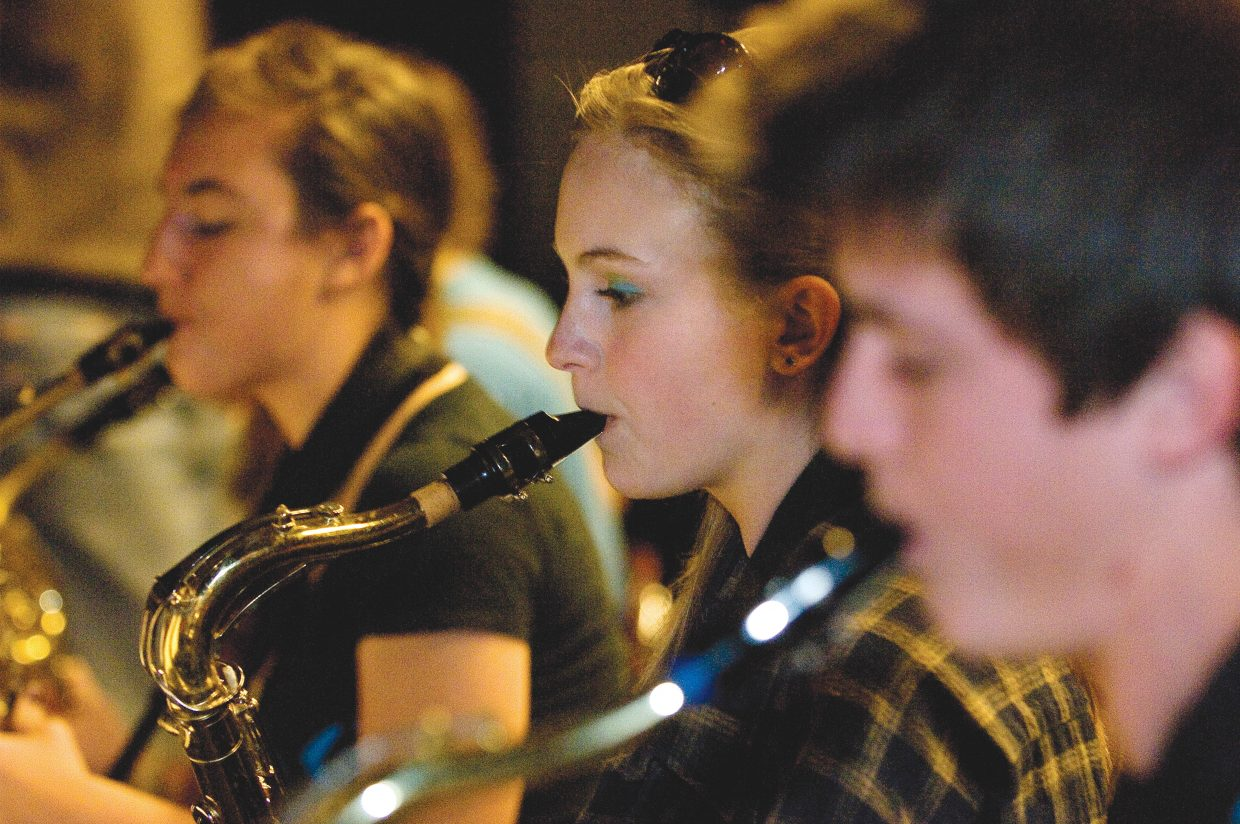 Saxophone player Marcie Tracy-Norris practices with the Steamboat Springs High School Jazz Band.