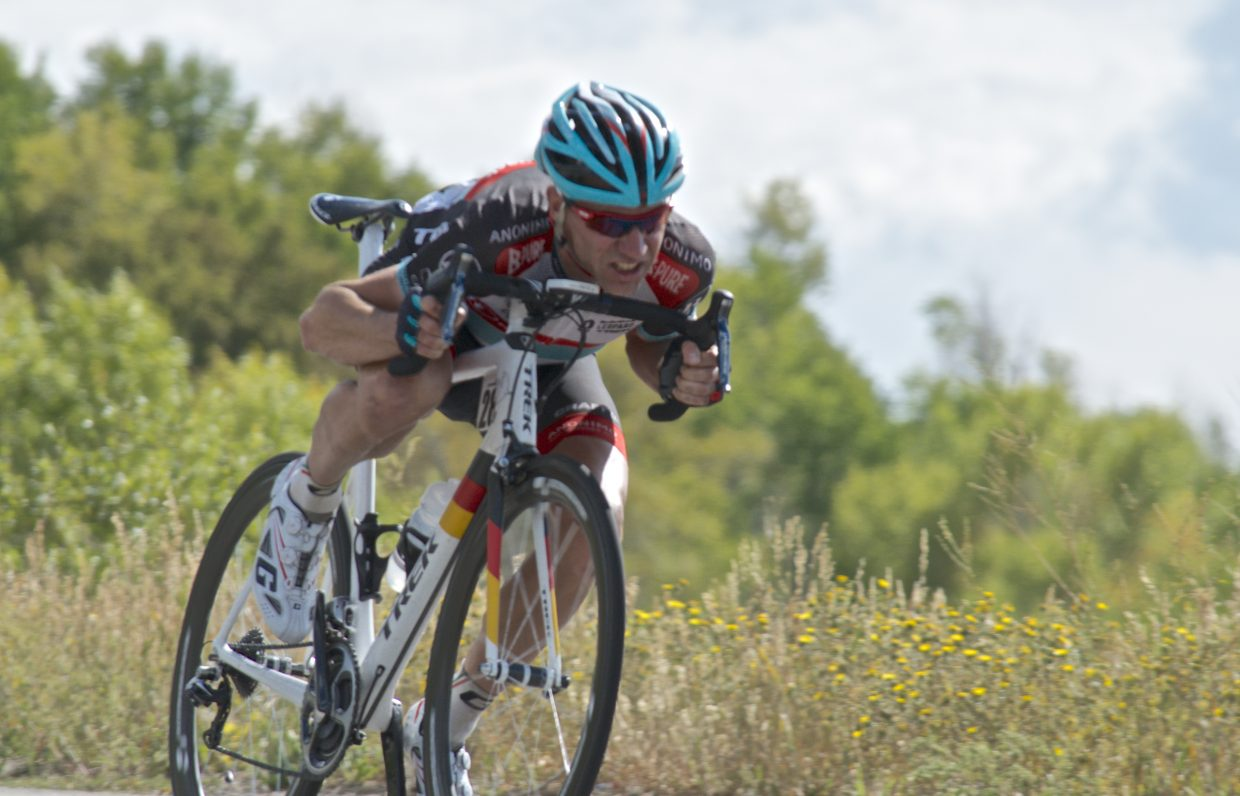Jens Voigt in the lead descending Rabbit Ears Pass in the USA Pro Challenge. Submitted by: Dana Stoner
