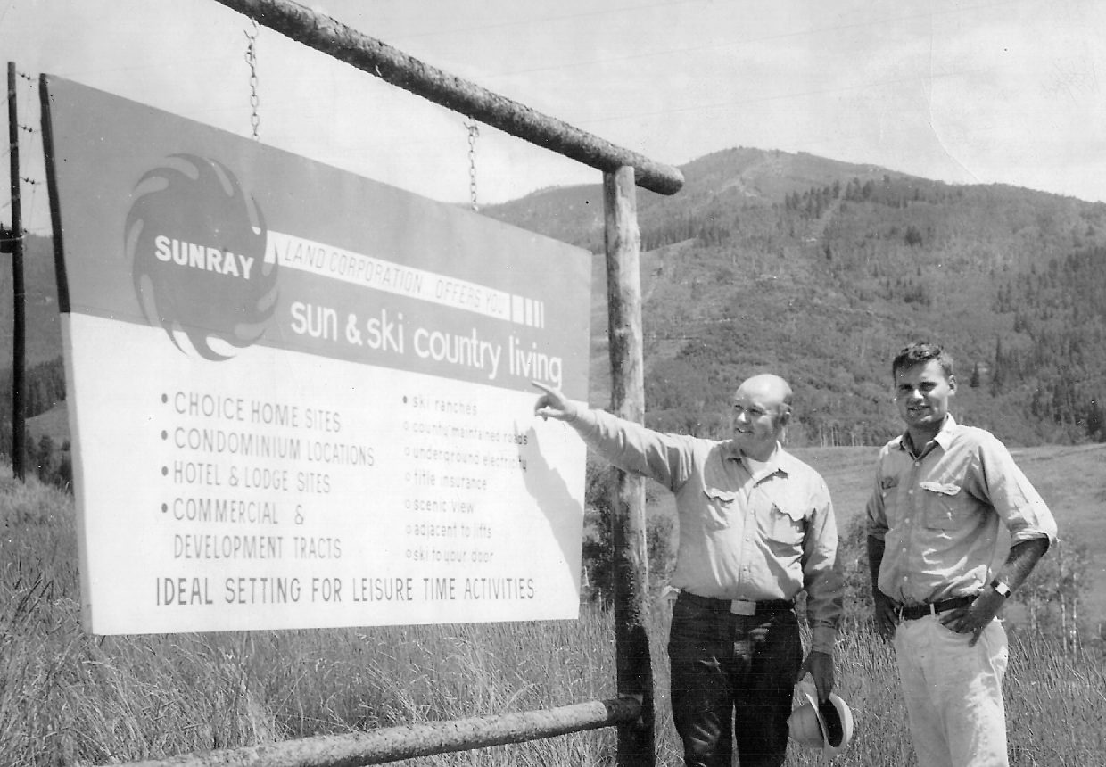 Jim Temple, left, and Don Valentine in August 1965 at the base of the Steamboat Ski Area. Temple, who founded the ski area, was inducted into the Colorado Ski Hall of Fame in October 2006 in Denver.