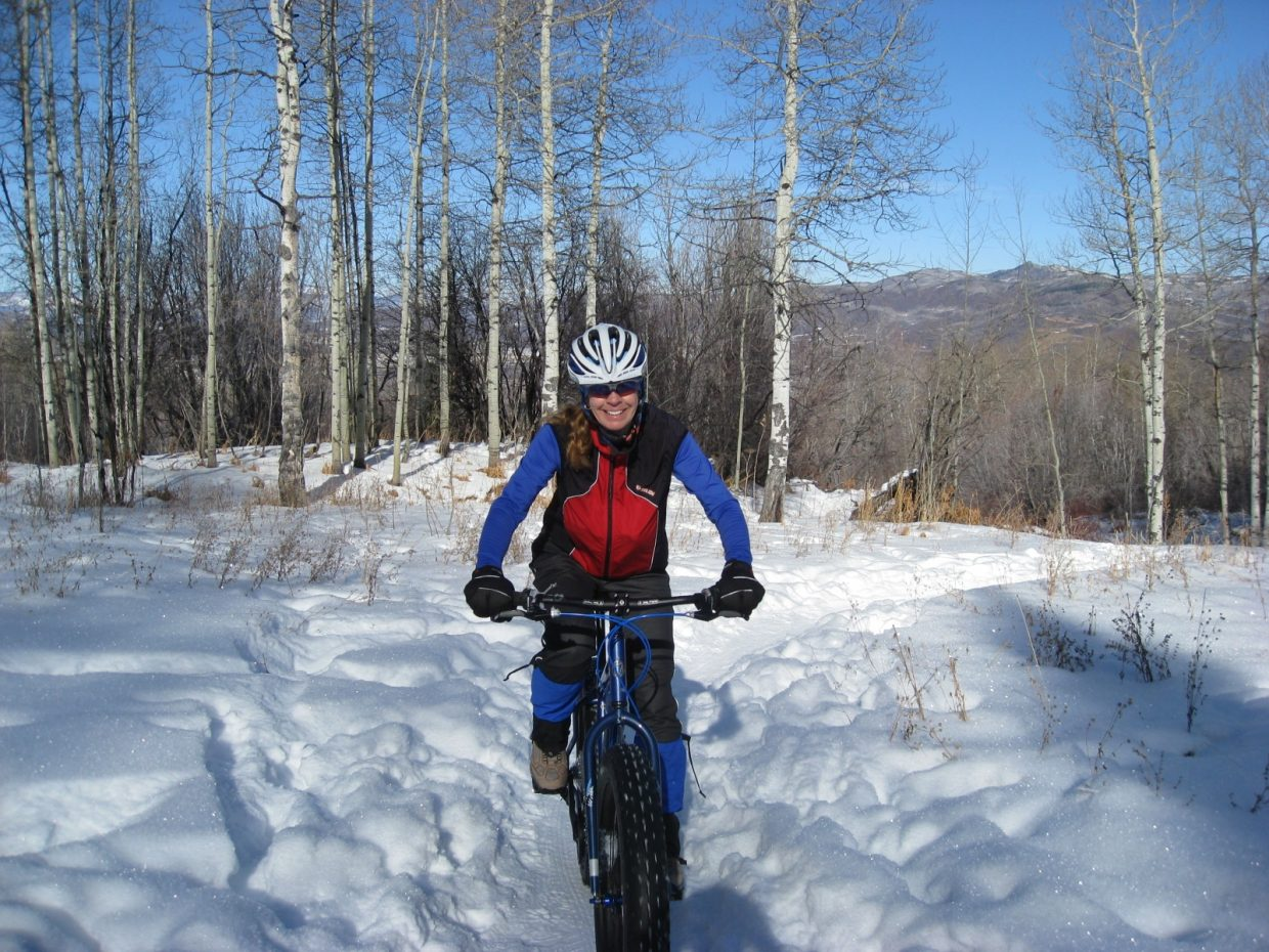 Snow-biking on Howelsen Hill last weekend on MGM Trail, near the pond. I rented the special fat-tire bikes from Orange Peel as a Christmas present for my mountain biking friends. We enjoyed all the trails and found the bikes very well suited for riding in the snow. Submitted by: Johanna Hall