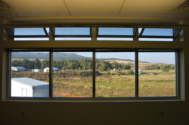 A beautiful view is visible from a nearly completed judge's chambers room at the new Justice Center building during a tour of the facility on Friday morning.