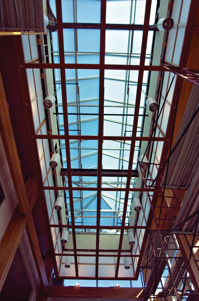 A huge bank of glass window panes let light in from the ceiling of the entrance area of the new Routt County Justice Center building during a tour of the facility Friday morning. The center will be unveiled in a dedication ceremony at 3:30 p.m. Wednesday.