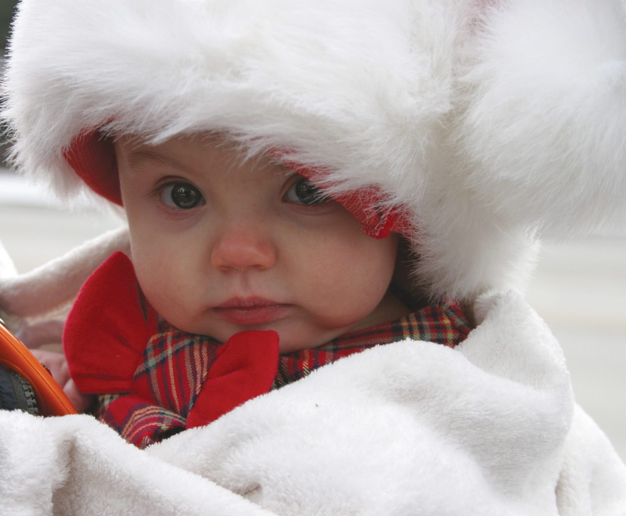 Kaia Hewitt after visiting Santa in front of the Routt County Courthouse. Submitted by: Erica, Khristian and Kaia Hewitt