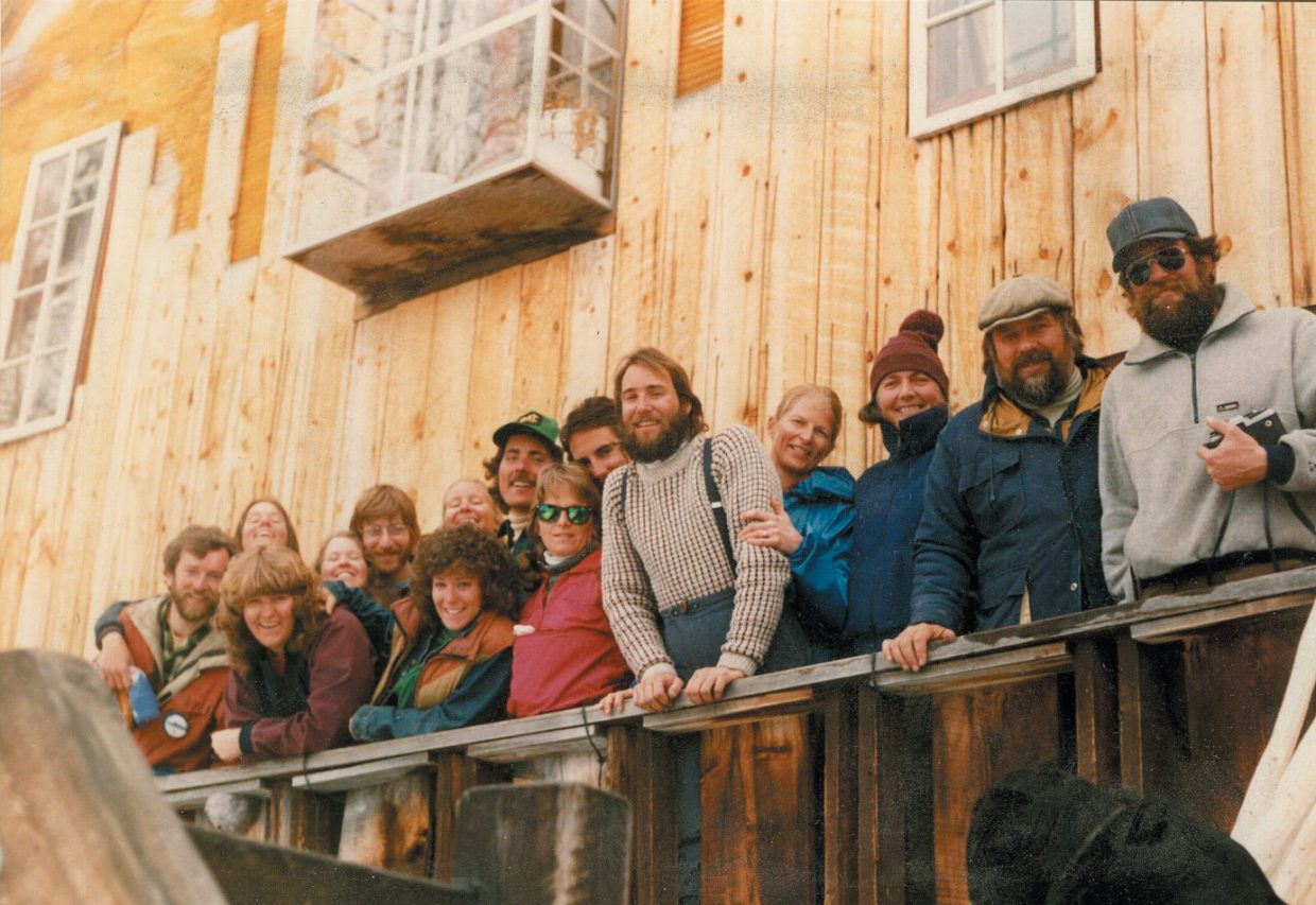 In 1965, Wayne and Linda Kakela opened the first ski lodge in Steamboat Springs, partnering with the resort to offer a one-day lift ticket, sleeping bag space, breakfast and dinner for $9.50. In this photo, friends and lodge residents pose at The Barn in the late 1960s.