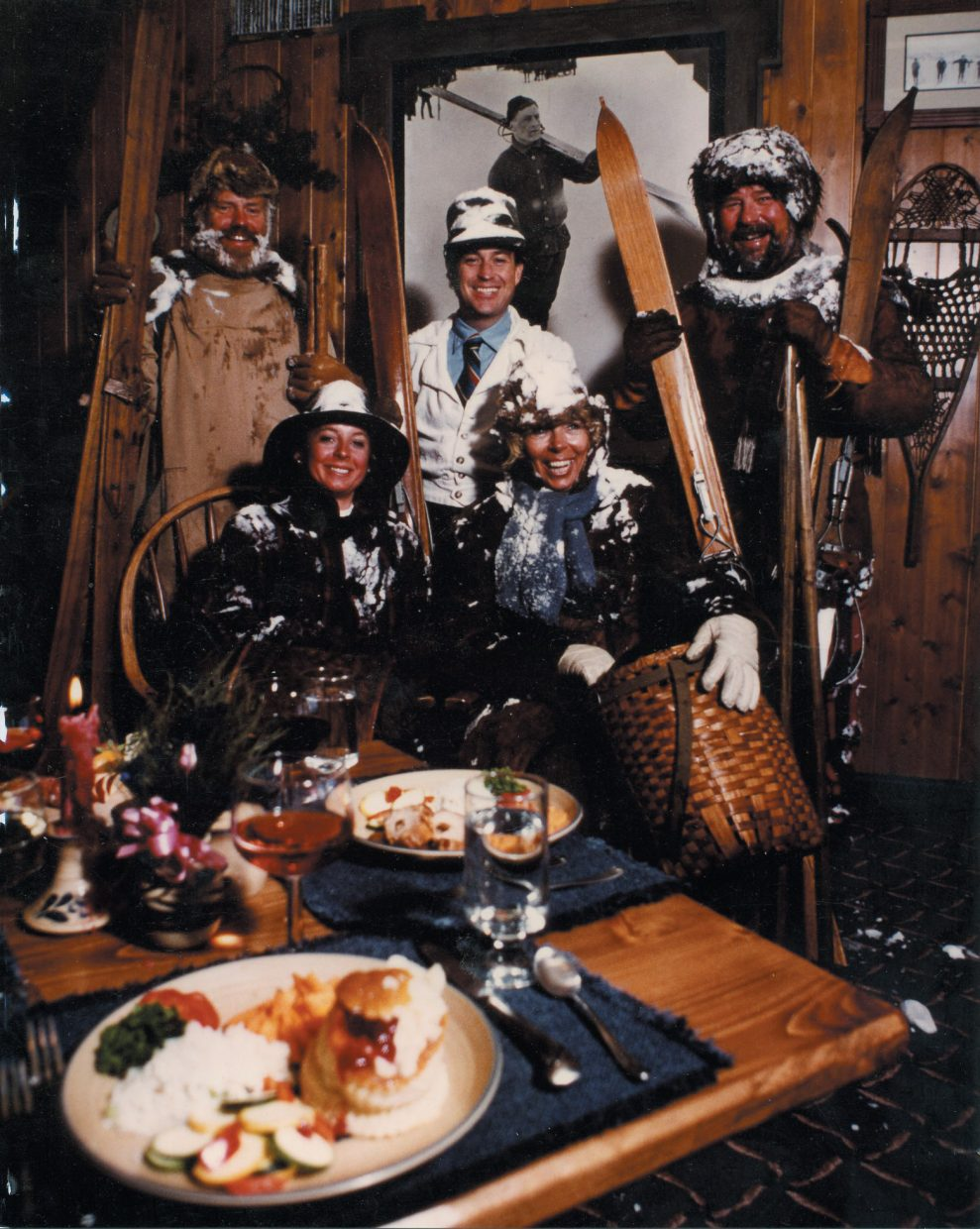 Wayne Kakela (top right) celebrates the completion of Ragnar's with friends near the mountain restaurant's opening in 1984. The group skied down the mountain on the skis they're holding in the photo.