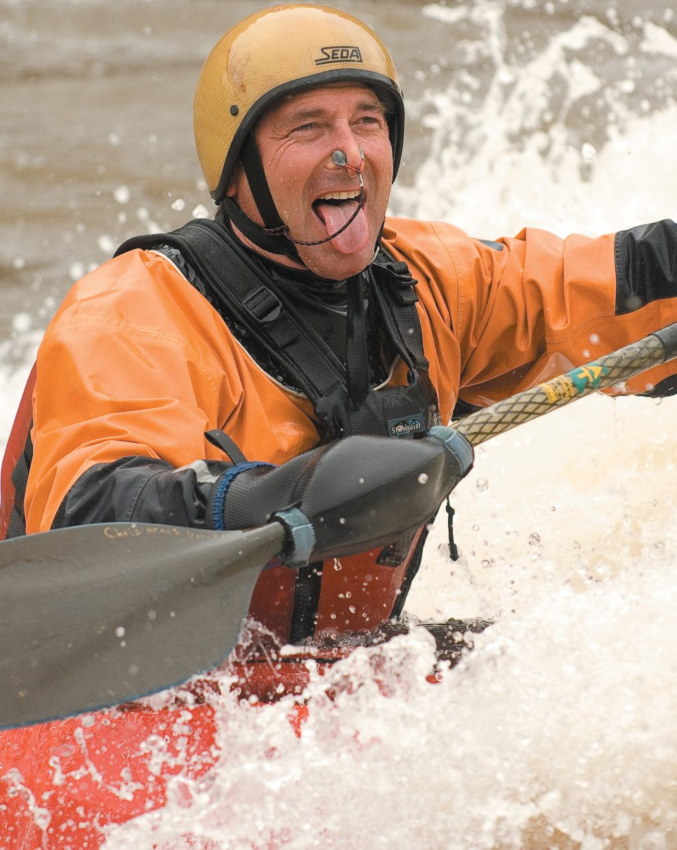Steamboat Springs kayaker Chris Arnis shows his excitement in the Yampa River last week.