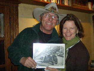 Steamboat's Director of Skiing Billy Kidd, left, shares a vintage photo with Kris Tompkins, co-founder and former CEO of Patagonia Sportswear. The two met when Tompkins spoke about the positive impact of land preservation at the Boulder Public Library recently. Tompkins and her husband, Doug, founder of The North Face, have preserved more than 2.5 million square acres of land in southern Chile. Kidd's picture featured himself and Doug Tompkins astride motorcycles in Chile in the mid-1960's.